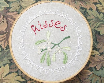 Mistletoe Wishes Embroidery Pattern - Christmas Hand Embroidery