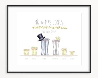 Wedding Wellington Boot Personalised Print