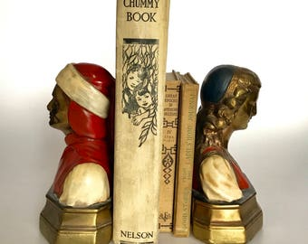 Antique Dante & Beatrice Book Ends by Marion Bronze Circa 1920's Amazing