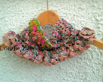 Col femme au crochet-col multicolore shabby chic en coton et lin mélangé originale