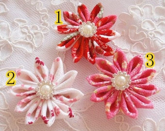 3 Fabric Flower Fabric Rose Ribbon Flower Fabric Rose MY-667-01 Ready To Ship