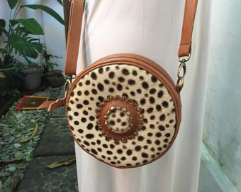 Handmade Moon LeatherRound bag; Bali bags; Crossbody; ; Boho bag; Hippie Bags; Made from Bali, Indonesia