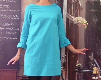 Dress short sleeves 3/4 from 36 to 42 in turquoise blue cotton bow and black belt