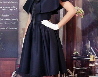 Whole dress and cape Marilyn custom retro black taffeta nude evening prom wedding