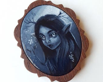 Willow -  Miniature Acrylic Painting by Amy E Owers