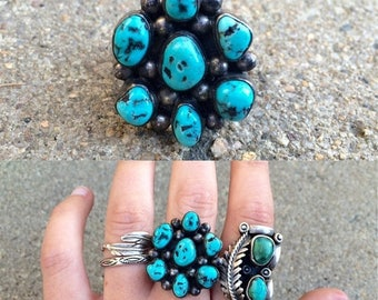 20% OFF vintage old pawn Native American sterling silver turquoise cluster southwestern ring size 9