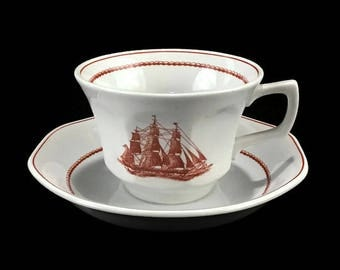 Wedgewood Tea Cup and Saucer * Flying Cloud * Rust Red