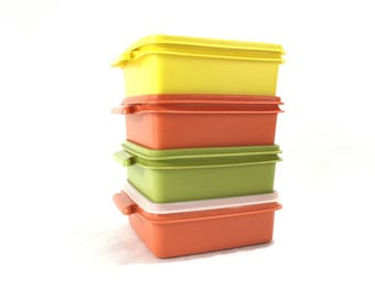 Vintage Tupperware Sandwich Container with Lid * Square 1362 Kitchen Storage Container * Your Choice of Colors