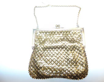 Vintage gold chain bead  purse