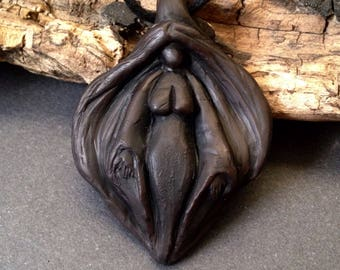 Yoni Goddess - Stylized Vulva Pendant - Made to Order - Jewelry under 25