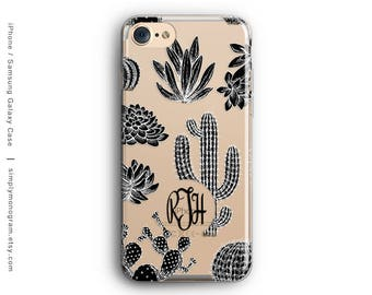 iPhone X Case, iPhone 6 Case, Monogram, iPhone 8 Case, iPhone 7 Case, Cactus, iPhone 8 Plus Case, Galaxy S8 Case, Samsung Galaxy Case