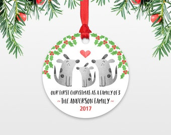 Dog New Baby Christmas Ornament New Baby Gift Christmas Family Ornament Our First Christmas as a Family of Three 3 Dog Personalized Ornament
