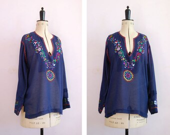 Vintage 1960s 70s Dell Originals Mexican embroidered blouse - 70s Peasant blouse - Mexican top - Folk blouse - Gypsy blouse - Bohemian boho