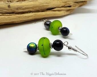 Neon Green and Black Earrings - Neon Green Earrings - Black Earrings - Gift Ideas