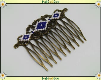 Hair comb vintage wedding white bronze blue glass beads