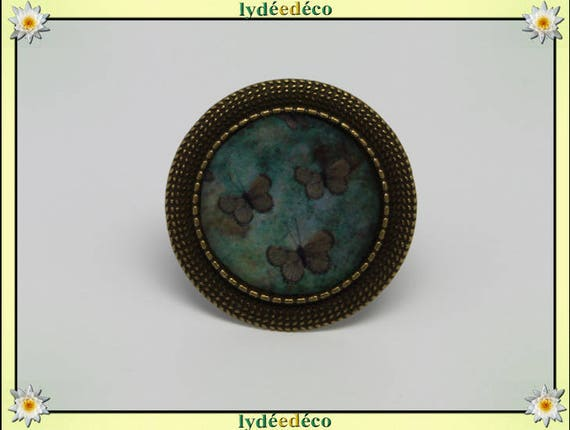 Round ring Green Butterfly vintage retro Brown resin and brass bronze adjustable retro 20mm charm