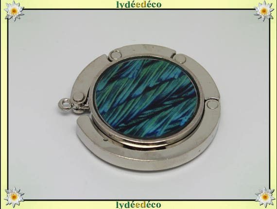 Bag hook retro blue green Peacock feather resin on metal silver