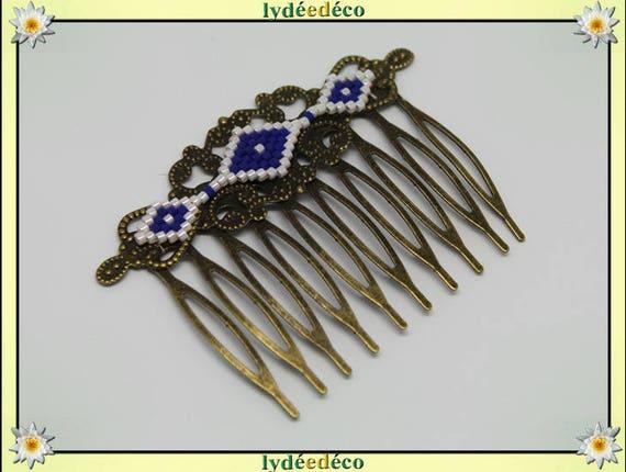 Vintage wedding hair comb Japanese brass bronze blue white glass beads