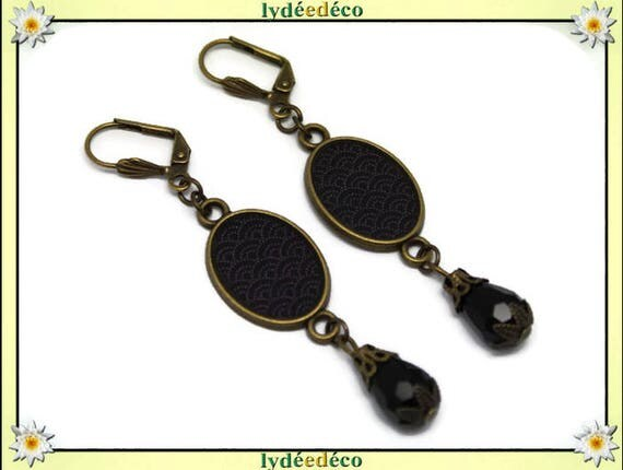 Earrings retro vintage oval cabochon: seigaiha wave Japanese black resin grey brass beads glass pendants 20 mm x 15mm