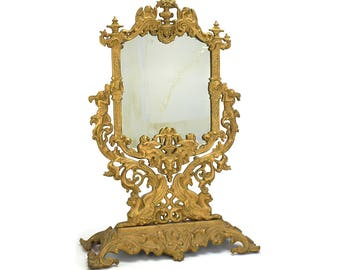 Antique Gold Cast Shaving Mirror - Victorian Table Top Vanity Mirror - Gold Dresser Tilt Adjustable Bathroom Mirror - Wedding Decor Gift
