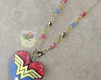 Wonder Woman inspired beaded necklace