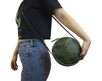 Round Green Leather Bag, Crossbody Bag, Round Bag, Leather circle bag, Leather crossbody bag, leather bag,Circle Crossbody Bag, Gift for Her
