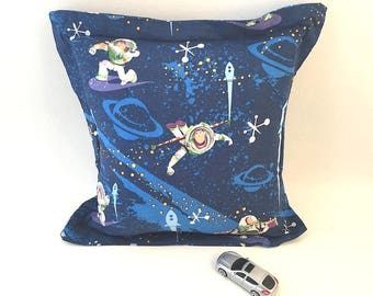Toy Story Pillow, Buzz Lightyear, Kid Room Pillow,  Toy Story Fabric, Dark Blue Pillow, Outer Space, Planets, Kid Decor, Kids Bed