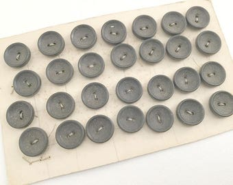 Vintage Buttons , Black Buttons, Buttons on Card, Set of Buttons, Sewing Buttons, Craft Buttons, Small Black Button, Two Hold Buttons