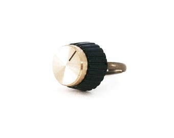 Amp Knob Ring | Marshall Amplifier | Bronze | Large Statement Ring