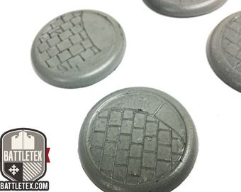 Large Paved Floor Detailed Wargaming Bases (Style 2) - Round Bases - 38mm Warhammer war gaming - By Battletex