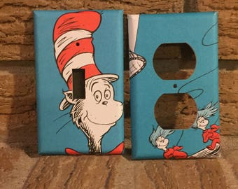 Dr. Seuss Cat in the Hat Light Switch and Electrical Covers, Thing one, Thing Two, Cat in the Hat Nursery, Decor, DR7