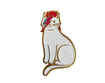 Bowie Cat Enamel Pin -  cat pin - kitty stardust - sparkle cat lapel pin hat pin Gold and Bright Silver Glitter