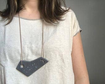 Grey Ceramic Necklace with Waxed Cotton Cord
