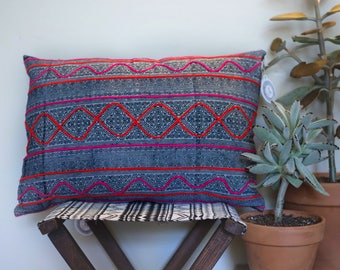 Vintage Hmong Hemp Throw Pillow