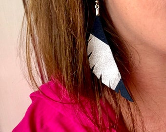 Navy Leather feathered Angel Wing