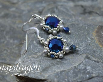 Electric blue faceted crystal and glass pearl sterling silver beaded earrings