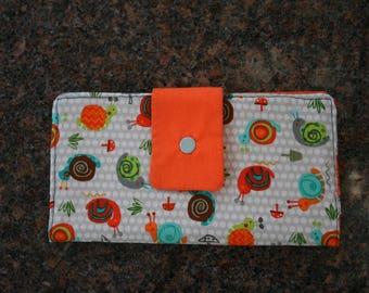 Women's Snap Closure Organizer Wallet Bi Fold Purse Accessory Handmade Clutch
