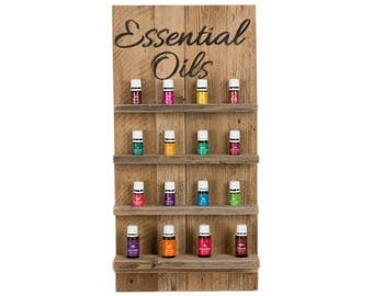 Essential Oils Wall Hanging Display Shelves with Script - Natural