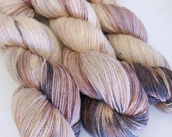 100g Cafe au lait on ethically produced British wool spun + hand dyed in Yorkshire. Romney lambswool, British alpaca and BFL