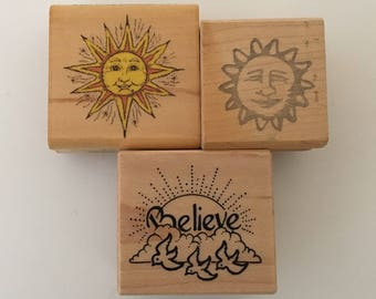 Let the Sun Shine Rubber Stamp trio with Clouds