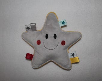 Educational toy, rattle, birth, grey and yellow star gift, Rattle and labels