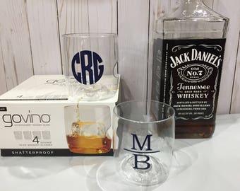 4 Monogrammed Govino Dishwasher Safe whiskey, wine, beer or champagne