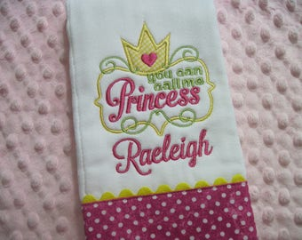 FOR A SWEET PRINCESS - Personalized Baby Girl Burp Cloth