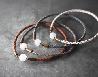 Moonstone Leather Bangle, Moonstone Bracelet, Moonstone leather bracelet