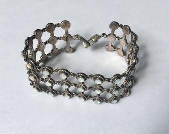 vintage sterling and mother of pearl grid bracelet