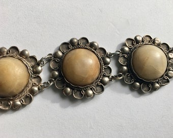 antique Mexican sterling and onyx bracelet