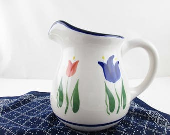 A 'Dansk' Pitcher - 'Tulip' Pattern - Dansk Indonesia - Squash Style With Large Handle - Off-White with Blue, Peach and Yellow Tulips