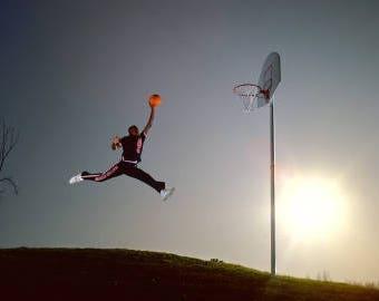 Michael Jordan original jump man, basketball sports photo, dunk, Chicago Bulls, nike air, flying, photography, picture, print, fine art