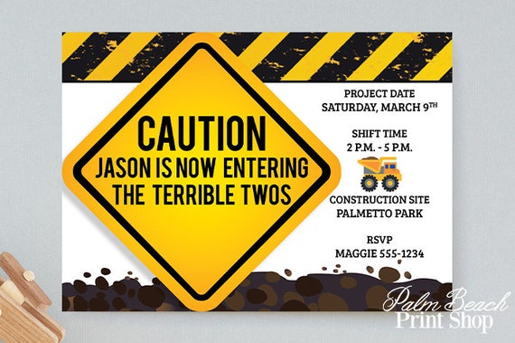 Caution Now Entering The Terrible Twos Birthday Party Invitations