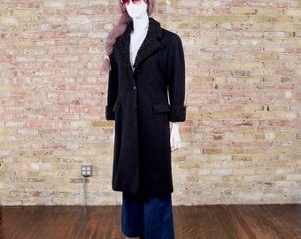 DIOR persian lamb coat / christian dior coat / black wool coat / persian lamb coat / fur collar / swing coat / dior / black persian lamb